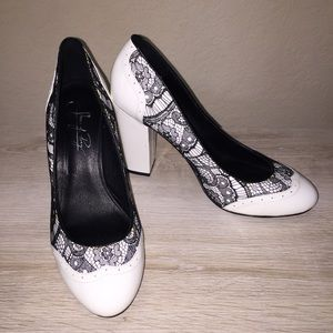 Shoes Of Prey White Black Lace Patent Leather Heel